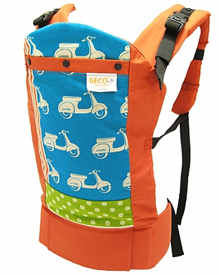 beco baby carrier in scooter fabric