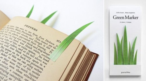 green marker grass bookmarks