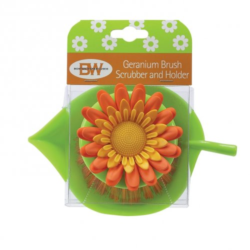 geranium plastic flower scrubber