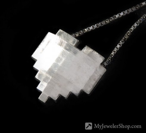 Pixel heart necklace silver