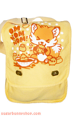 om nom nom fox messenger bag