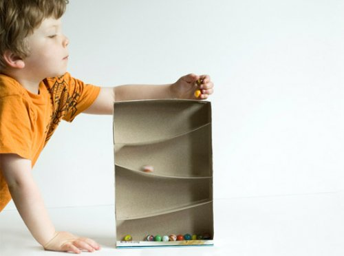 cereal box marble run toy