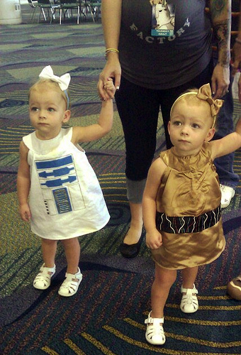 girls in star wars droid outfits
