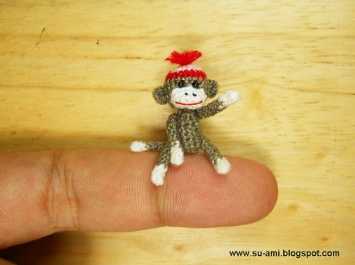 miniature doll house sock monkey