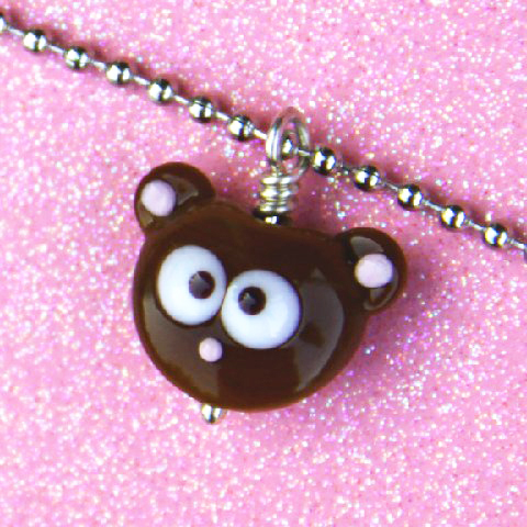 glass bear bead necklace