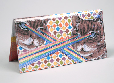 laser kitty checkbook cover