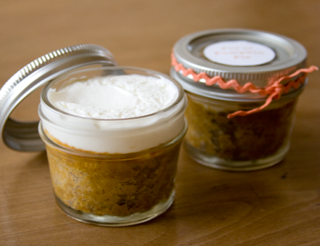 miniature pumpkin pie in a jar