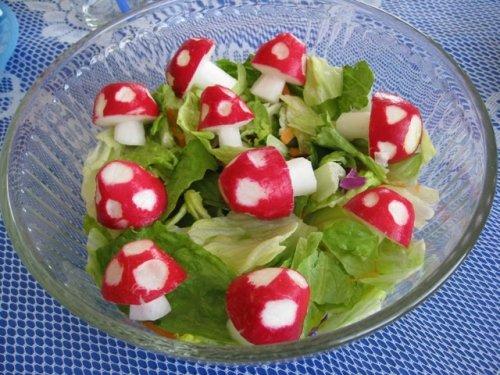 radish mushrooms for smurf party