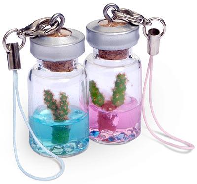 mini pet cactus cell phone charm