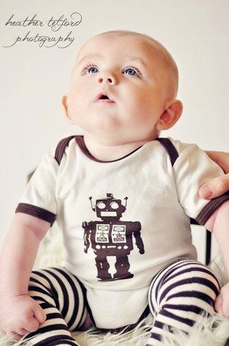robot onesie with striped legwarmers