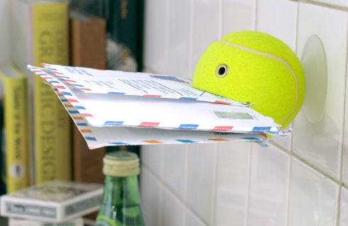 tennis ball upcycled mail holder